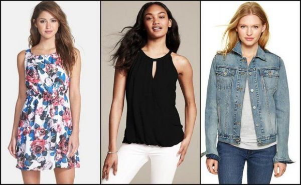 Summer basics and denim from (left to right) Nordstrom, Banana Republic and GAP.