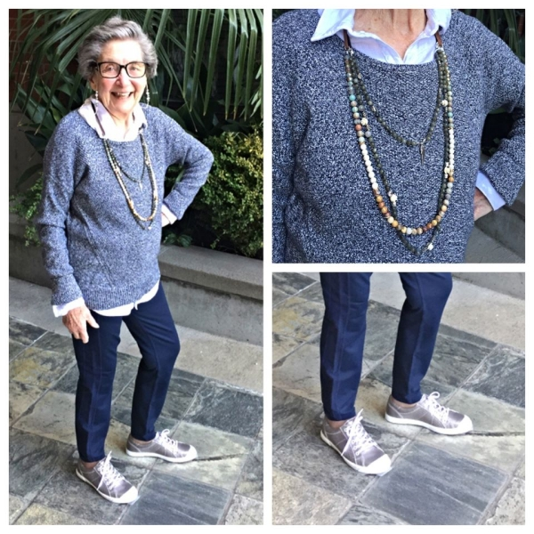 Grandma Marjorie Nason: Comfort and style can go hand in hand with flattering leggings, sweater and bronze sneakers from Soletta in Lake Oswego